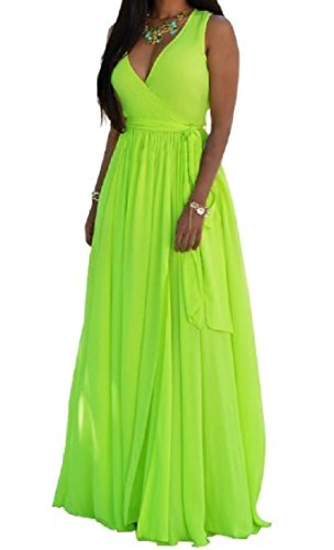 Deep Flowy Chiffon Dress Women Big Waist Hi Neck V Beach Green Maxi Pendulum Coolred Light Atqxvgv