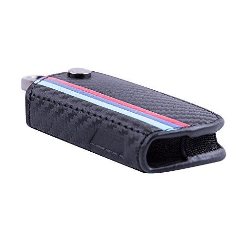 M Color Stripe Carbon Fiber Pattern Leather Key Holder Fit BMW 2 3 5 6 7 Series