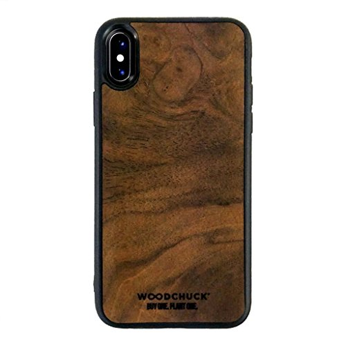 WOODCHUCK USA iPhone X Premium Wood Case, Walnut Burl, 100% Real Wood