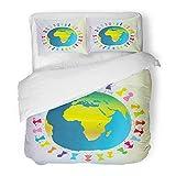 Emvency Bedding Duvet Cover Set Full/Queen Size (1 Duvet Cover + 2 Pillowcase) Blue Globe Children Around Planet Earth Green World America Asia Black Boy Cartoon Hotel Quality Wrinkle
