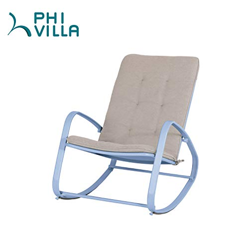 PHI VILLA Outdoor Patio Rocking Chair Padded Steel Rocker Chairs Support 300lbs, Blue