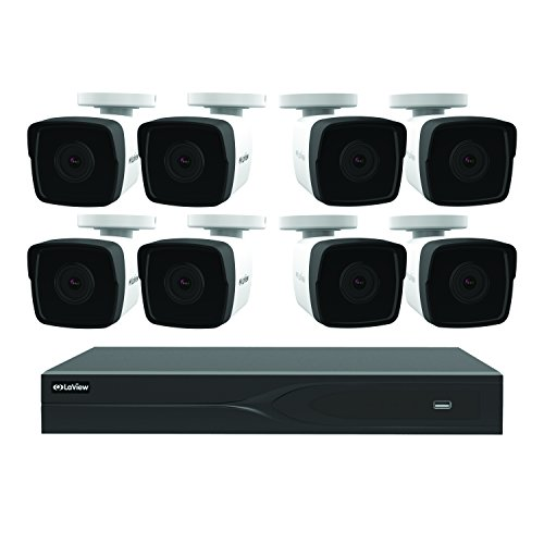 LaView 8 Channel 5MP Business and Home Security Cameras System 1TB HDD Surveillance DVR with 8 5MP Color Night Vision Bullet Cameras