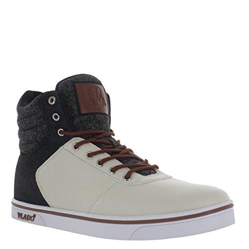 Vlado Footwear Men's Milo 2 Cream/Black PU & Denim High Top Sneaker US 12