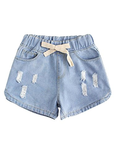 WDIRA Women's Drawstring Waist Ripped Mid Waist Loose Casual Denim Shorts Blue...