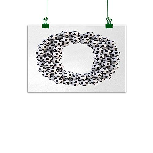 - Unpremoon Letter O Canvas Wall Art Picture Round Oval Arrangement of Soccer Balls Sporting Theme Match Day Illustration Wall Decor for Home Office Decorations Black and White W 32