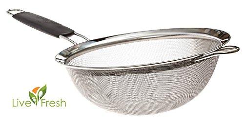 Erstklassiger engmaschiger Seiher aus Edelstahl von LiveFresh - 19,5 CM - Seihen & sieben Sie Quinoa, Reis, Mehl, Nudeln und vieles mehr mit dem stärksten und zuverlässigsten großen Sieb, das erhältli