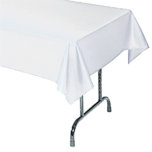 12-Pack Plastic Tablecloth - 54 In. X 104 In. Rectangle Table Covers (White, 54 In. X 104 In. Rectangle) -
