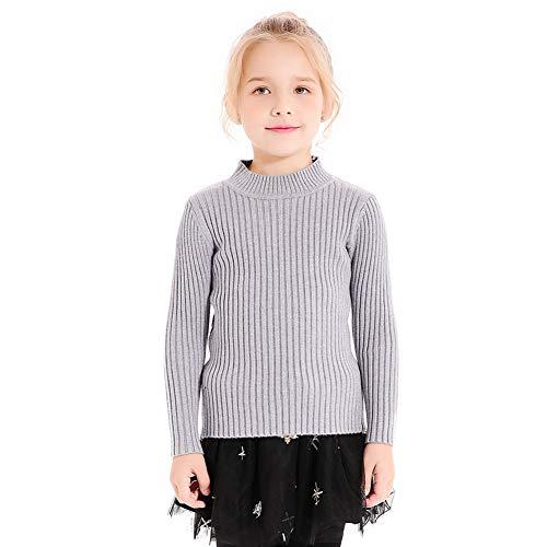 SMILING PINKER Kids Girls Pullover Sweaters Knit Long Sleeve Turtleneck Fall Winter Basic Tops(5-6,Grey)