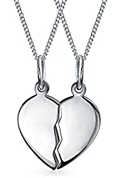 Bling Jewelry 925 Sterling Silver Split Heart Friendship Necklace Set 16in