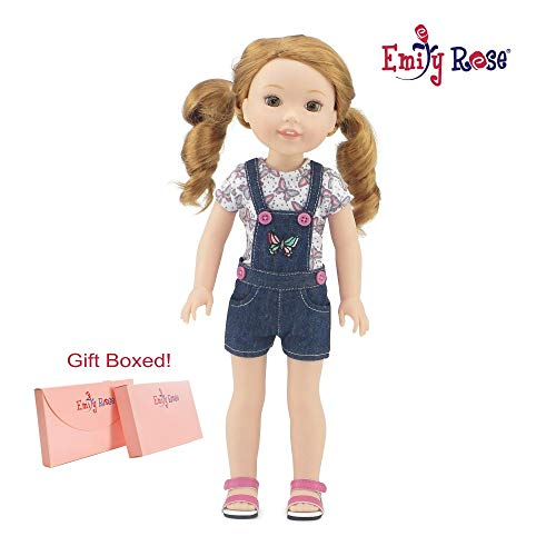 [해외]Emily Rose 35.56cm 인형 옷| 아름다운 3피스 청바지 전체 의상 자수 나비 샌들 포함 | 14\u201d 아메리칸 걸 웰리 소원과 반짝이 여아용 인형에 맞음 | 선물 상자 / Wellie Wishers Doll Clothes for 14 Inch Dolls | 3 Piece Embroidered Overall Outf...