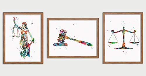 Lawyer Office Decor Lady Justice Watercolor Art Gavel Print Lawyer Office Decor Scales of Justice Wall Art Judge Law Wall Hanging Lawyer Gift ()