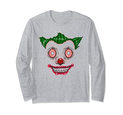 Long Sleeve Freaky Clown Face, Fun Halloween Face Costume