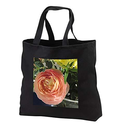 Jos Fauxtographee- Accented Edged Peach Floral - An accented edged peach flower with some yellow - Tote Bags - Black Tote Bag JUMBO 20w x 15h x 5d (tb_307276_3)