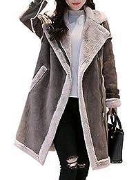 6888bf3d8f5ee Women Long Sleeve Faux Fleece Suede Fur Coat Biker Motor Aviator Outwear