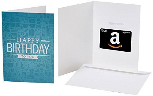 Amazon.com $200 Gift Card in a Greeting Card (Birthday Icons Design) ()