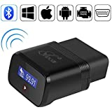TekkPerry Bluetooth OBD2 Scanner, Bluetooth OBDII Car Diagnostic Scanner/Tool/Adapter, Car Scanner Tool Auto Adapter Check Engine Diagnostic Tool Light Scan Tool Code Reader Android Torque/PC/IOS