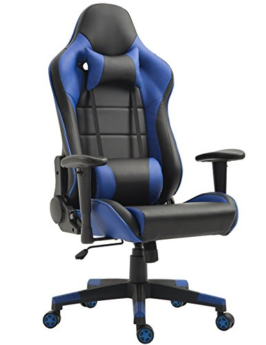 Gaming Chair Ergonomic Racing Chair PU Leather High-Back PC Computer Chair Adjustable Height Professional E-Sports Chair with Headrest and Lumbar Pillows (Black/Blue)