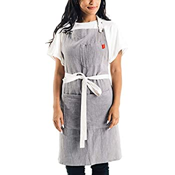 Caldo Linen Kitchen Apron - Mens and Womens Linen Bib Apron - Adjustable with Pockets (Grey)
