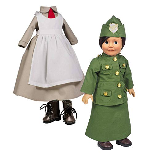 The Queen's Treasures 2 Salvation Army Historic Uniform Salvation Army Doughnut Girl & Designer Brown Faux Leather Lace up Boots Fits 18 inch American Girl Dolls Clothes & Accessories.