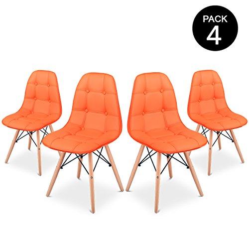 Mc Haus Sena Button Pack 4 Sillas Comedor, Naranja, 66 x 64 x 53 cm ...