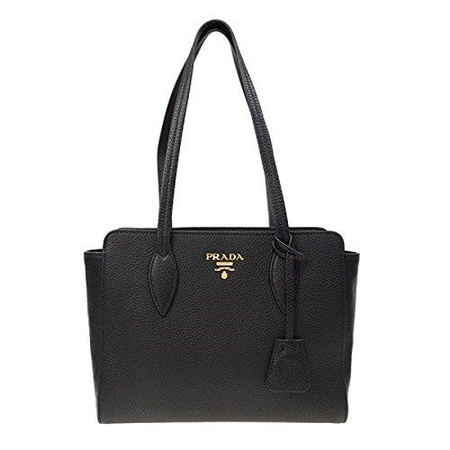 Prada Black Leather Bibliotheque Paradigme Shoulder Bag Handbag -