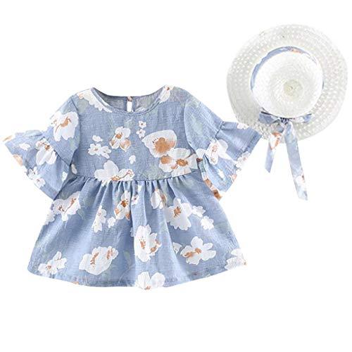 Baby Girls Hat Beach Dresses Set YESOT 2 PCS Flare Sleeve Flower Tops Princess Dress+Hat Cap Outfits (Blue, 12-18 Month)