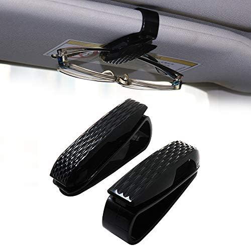 WSBOSS 2 Pack Glasses Holders for Car Sun Visor, Sunglasses Eyeglasses Holder Clip Hanger Mount with Ticket Card Clip