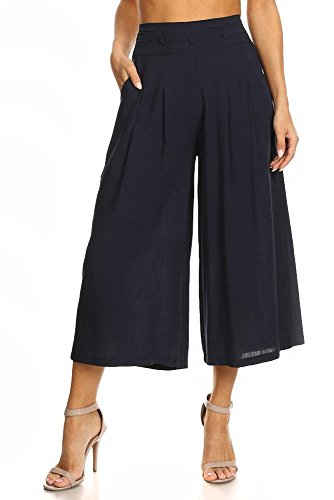 Women's Linen Cropped Palazzo Pants in Solid Colors (Small/Medium, Navy)