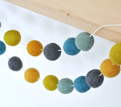 Handmade Grey, Blue and Yellow Felt Ball Garland for Kids Room Decoration