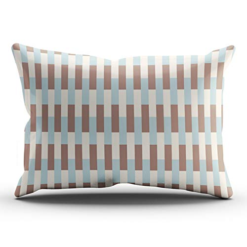 WULIHUA Throw Pillow Covers Brown Tan Blue Stripes Lumbar Outdoor Cushion Cover Pillowcase Size 12x24 Inch One Sided Printed Chic Fashion Design