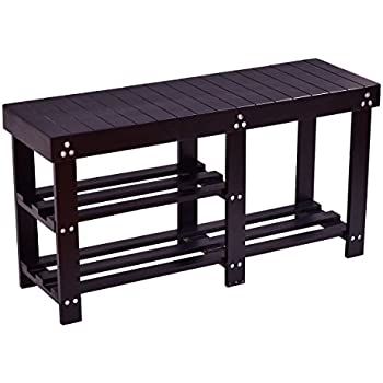 black wood entryway benches with shoe storages | Amazon.com: Giantex Wooden Shoe Bench Boot Storage Shelf ...
