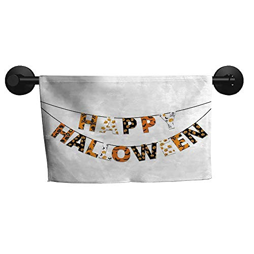 alisoso Halloween,Personalized Towels Happy Halloween Banner Greetings Pumpkins Skull Cross Bones Bats Pennant Quick-Dry Towels W 20