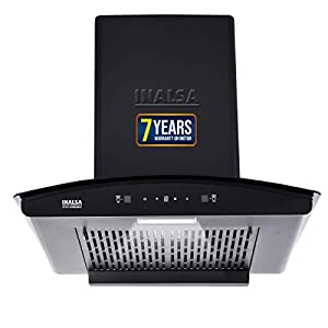 Inalsa Auto Clean, Motion Sensor Filterless Kitchen Chimney-60 cm 1250 m³/hr (Zylo 60BKMAC, Touch Control, Curved Glass…