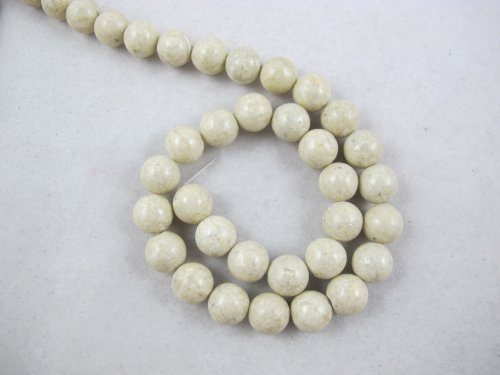 (BRCbeads Fossil Beads Nature Fossil White Color Round 10mm 41pcs 16''per Strand)