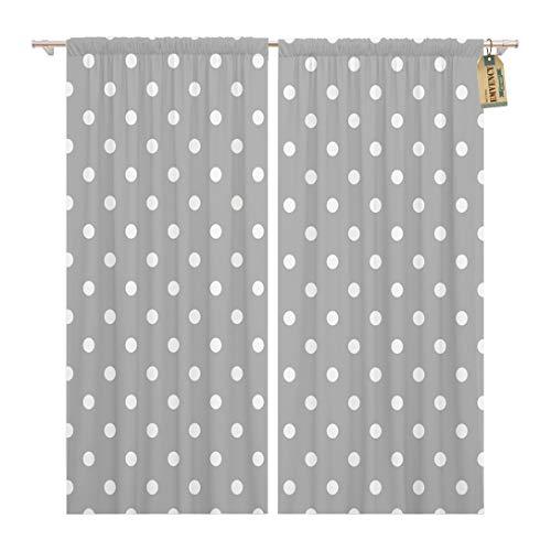 Golee Window Curtain Grey Gray Polka Dot Pattern White Baby Abstract Circle Home Decor Rod Pocket Drapes 2 Panels Curtain 104 x 84 inches