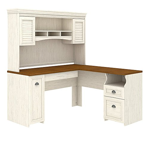 Bush Furniture Fairview L Shaped Desk with Hutch in Antique - Furniture Antique Home Office