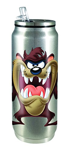 Spoontiques 20923 Taz Tasmanian Devil Stainless Steel Beverage Can, Silver