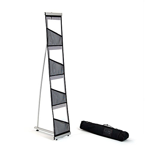 Mesh Floor Brochure Rack - Roll Out Brochure Holder 4 pockets - Portable Literature Display - Leaflet Holder - for Tradeshow and Office Use - Plastic Rack Case