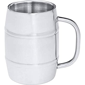 Maxam KTBMUG4 Arctic Blast Barrel-Shaped Stainless Steel Beer Mug, 34 oz, NA