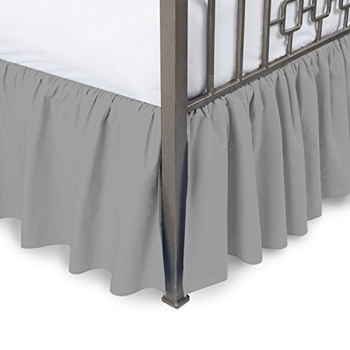 Amazon Luxurious 800TC Pure Cotton Dust Ruffle Bed Skirt 20' Drop length 100% Egyptian Cotton Silver Grey King Size