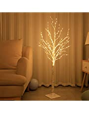 White Birch Tree with 200 LED Lights 6FT for Holiday Wedding Party Thanksgiving Christmas Decorations Tree Plug in Indoor and Outdoor Use (6Ft)