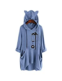 Clearance! Womens Plus Size Irregular Blouse,Casual Hooded Cat Ear Print Tunic Top Long Sleeve Shirts Pockets M-5XL