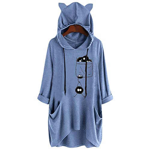 Scary Sheep Mask (Excursion Clothing Women Casual Cat Ear Hooded Long Sleeves Tops, Solid Color Print Pocket Shirt Irregular Pullover Loose Blouse Comfy)