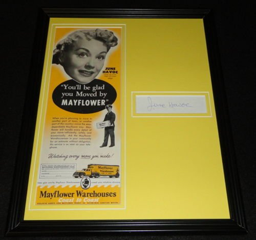 (June Havoc Signed Framed 11x14 ORIGINAL 1951 Mayflower Advertisement Display)