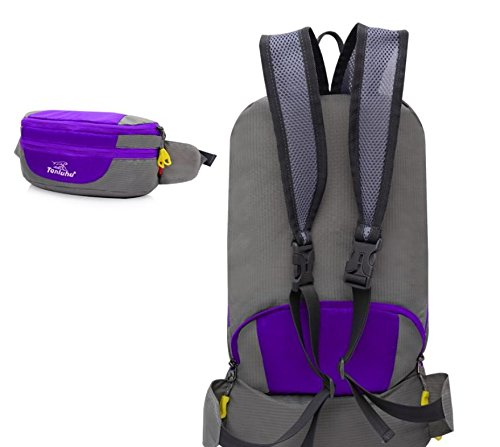 ROBAG Montañismo al aire libre bolso doblado bolsillos unisex par de bandolera , red purple