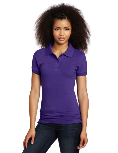 Lee Uniforms Juniors Stretch Pique Polo, Purple, XX-Large