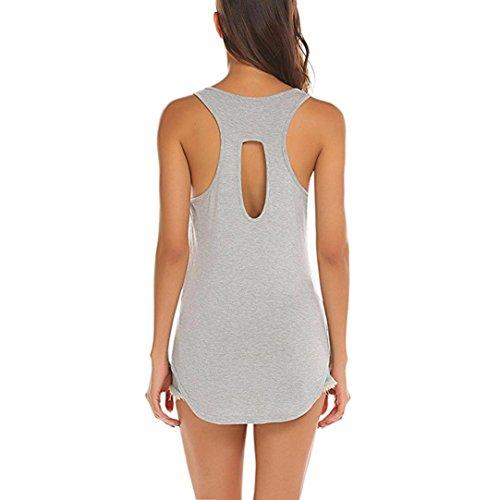 Oksale® Women High Low Hem Backless Workout Tank Top Sleeveless Yoga Shirt Blouse Tee Shirt (Gray, XL)