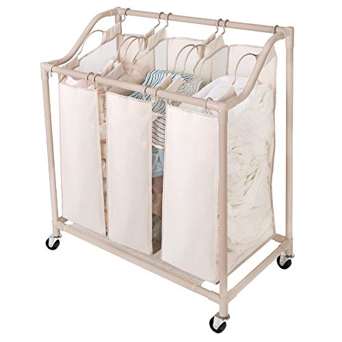 Sorter Laundry Deluxe - Smart Design Deluxe Rolling Triple Compartment Laundry Sorter Hampers w/Wheels - Sturdy Steel Metal Frame - Clothes & Laundry - Home Organization (Holds 6 Loads) (30 x 32 Inch) [Beige]