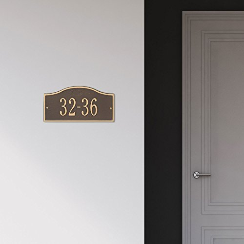 Whitehall Personalized Cast Metal Address Plaque - Small Rolling Hills Custom House Number Sign - 12'' x 6'' - Allows Special Characters - Bronze/Gold by Whitehall (Image #2)