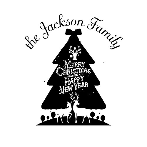 - Custom Return Rubber Stamper Seal of The Festival Self Inking Personalized Christmas Trees Family Signet Label for Card Making Circular Diameter 1.65inch 1pc
